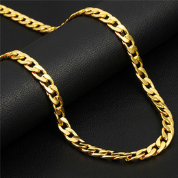 Wholesale Platinum Chains Men - Classic Cuban Link Chain Necklace 18K Gold Rose Gold Platinum Plated Fashion Men Jewelry Hip Hop Perfect Accessories Party Gift