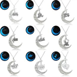 Wholesale Celtic Moon Pendant - Wholesale-Glowing In the Dark Moon Pendant Necklaces Silver Plated Chain Letter Charms Crescent Choker Necklaces Gift For Mom Best Friend