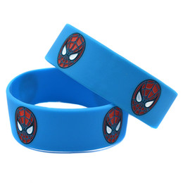 Wholesale amazing spiderman - 50PCS Lot The Amazing Spiderman Logo Bracelet Silicone Wristband 1 Inch Wide Great To Used In Any Benefits Gift