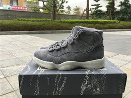 Wholesale Suede 41 - With Real Carbon Fiber+Box Retro 11 PRM Grey Suede Men's Basketball Shoes for XI Sports Sneakers Size 41-47.5