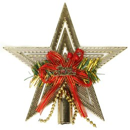 Wholesale Christmas Tree Star Top - Wholesale- New Arrival Top Selling 20cmx20cm Christmas Decoration Gold Star Christmas Tree Topper Decoration Pendant Ornament