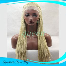 Wholesale Small Black Combs - Synthetic lace front hand braided wig with straps &combs synthetic braiding lace front wig full density for pretty black women