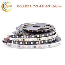 Tira de led ws2811 negro online-WS2811 Direccionable Smart LED Strip Light SMD 5050 rgb strip light Dream Color Efectos cambiables Negro / Blanco PCB DC12V