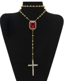 Wholesale Yellow Gold Jesus Pendant - 18K Gold Plated New hiphop hip-hop beaded ruby section cross Jesus necklace