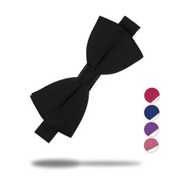 Wholesale Wedding Tuxedos Colors - 16 Colors Fashion Bow Ties For Men Bowtie Tuxedo Classic Solid Color Wedding Party Red Black White Green Butterfly Cravat Brand