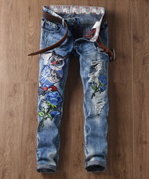 Wholesale Mailing S - 2017, spring and summer new personality embroidered owl hole, slim slim straight jeans, men's 29-38 packs of mail