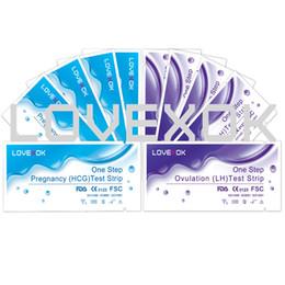 Tiras de prueba de ovulación online-Nueva Llegada LOVEXOK 50 UNIDS Ovulación LH Tiras de Prueba + 50 UNIDS Tiras de Prueba de Embarazo Certificado CE y FDA Envío Gratis