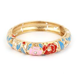 Wholesale Hinged Bracelets - Wholesale- Lady Rhinestone Inlaid Hollow Out Hinge Wrist Enamel Bracelet Bangle Baby Blue