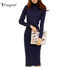Wholesale Sweater Robe - TANGNEST Fashion 2016 Women Autumn Winter Sweater Dresses Slim Turtleneck Sexy Bodycon Solid Color Robe LongKnitted Dress WZQ128