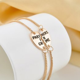 Wholesale indian stitch - 1 Pairs PARTNERS IN CRIME Good friend couple bracelet heart-shaped stitching