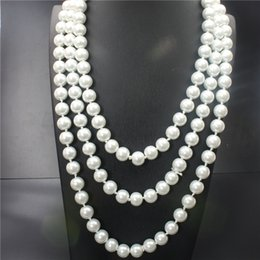 Wholesale Plastic Gold Rope Necklace - In 2017 the new high-end wedding dinner high-grade popular women's fashion natural pearl 150 cm necklace size 8mm