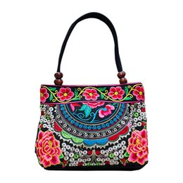 Wholesale Ethnic Crosses - Wholesale- Chinese Style Women Handbag Embroidery Ethnic Summer Fashion Handmade Flowers Ladies Tote Shoulder Bags Cross-body Bags