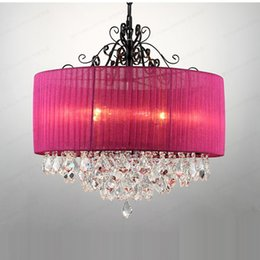 "Araña de cristal púrpura comedor online-20 ""Moderna tela de cristal púrpura Pantalla de la sala de estar Lámparas de araña Comedor Luces colgantes de techo de cristal decorado dormitorio lámparas"