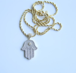 Wholesale rope chain mens - 2017 Lucky Jewelry !Hamsa Hand Mens Golden chain necklace micro pave cubic zirconia Hand of Fatima Pendant Necklaces for hiphop