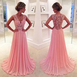 Wholesale Cheap Beautiful White Dresses - Beautiful Cheap Dresses Vestidos De Festa Vestido Longo 2017 Pink Chiffon A Line Cap Sleeve Evening Dresses with Lace Appliques