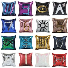 Wholesale Reversible Fabric - Sequin Pillow Case cover Mermaid Pillow Cover Glitter Reversible Sofa Magic Double Reversible Swipe Cushion cover