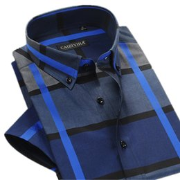 Wholesale British Dress Shirts - Wholesale- British Style Cotton Plaid Shirt Men Short Sleeve Dress Shirt Slim Fit Famous Brand Male Fashion Casual Summer Vestidos Plus 4XL
