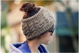 Wholesale Black Yellow Striped Tie - 2017 Ponytail Knit Hats Autumn Winter Fashion Street Hat Beanie Knitted Hat Unisex Cap Headgear Headdress Head Warmer Skiing Caps
