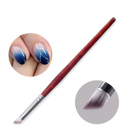 Wholesale Color Changing Paint - 1PC Gradient Color Change Nail Art Dye Drawing Painting Angled Brush Pen Acrylic UV Gel Polish Gradual Blooming Tips Wood Handle