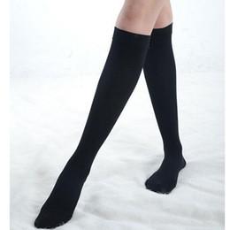 Wholesale Calf Support Socks - Wholesale- 2016 Fahion Woman Black Knee High Socks Calf Support Comfy Relief Black Cotton Leg Warmers Students Flexible Cotton Nylon