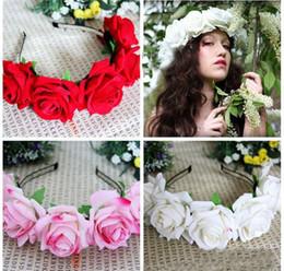 Wholesale Cheap Wreaths - 6 Colors,Beauty Velvet Roses Wreaths Hoop Seaside Holiday Photo Wedding Garden Head Hoop Hair Flowers Ornaments Cheap