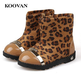 Wholesale Leopard Baby Girl Boots - Koovan Children Boots 2017 Winter Models Side Zipper Soft Soled Baby Leopard Shoes Girls Cotton Boots Kids Children Snow 21-25