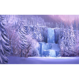 Wholesale Background Forest - Snow Covered Pine Trees Icefall Forest Photography Backgrounds Frozen Waterfall Winter Scenic Wallpaper Studio Photo Shoot Backdrop