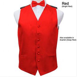 Wholesale Mens Vest Tie Sets - Wholesale- Mens Satin Vest Wedding Groom Formal Waistcoat with Optional Bow Tie Set 8 COLOR