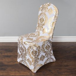Wholesale Gold Chair Covers - Wedding Chair Cover European Gold Stamp Chair Slipcover Special Gold Silver Stamp High-End Elastic Wedding Chair Covers