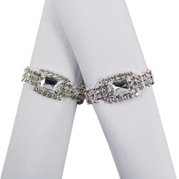 Wholesale Gem Napkin Ring Wedding Bridal - 4pcs lot White Diamante Gem Silver Napkin Ring Bridal Wedding Bridal Banquet Party Decoration Product Supply