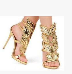 Wholesale Genuine Gold Leaf - Gold Silver Gladiators Woman Wing Leaf Sandals Summer Shoes Genuine leather Wedding Party Shoes Stiletto Buckle High heels Pumps Brand