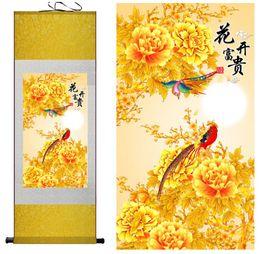 2019 peonías pinturas china Seda tradicional pintura del arte Peces y lirio de agua pintura tradicional del arte chino Hogar Oficina Decoración Seda Arte de la pared Colgar desplazamiento de la pintura
