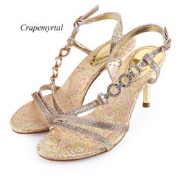 Wholesale Paillette Sandals - Crapemyrtle Paillette Open Toe Ankle Strap Ladies High Heel Sandals Strap Ladies High Heel Sandals Sexy Sandals Woman Shoes +B