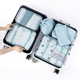 Wholesale Tidy Trunk Bag - 6 PCS Travel Suitcase Luggages Storage Bag Set For Clothes Tidy Organizer home wardrobe closet Clothing Underwear sundries divider container