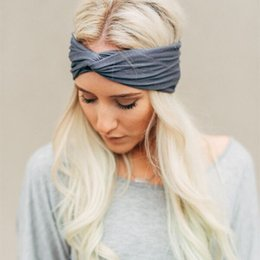 Wholesale Stretch Twist Headband - New fashion solid color Twist Turban headbands for Women & girls headwear color Stretch hairbands Elastic head wrap headbands