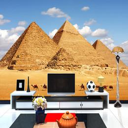 Wholesale Tv Wall Design Wallpaper - Wholesale- Custom 3D Photo Wallpaper House Decoration Modern Design Egypt Pyramid Living Room Sofa TV Bedroom Backdrop Wallpaper For Wall