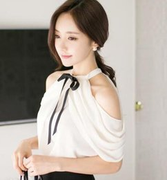 Wholesale Cheapest Women Formals - Cheapest summer new European and American women sexy strapless hanging neck chiffon shirt