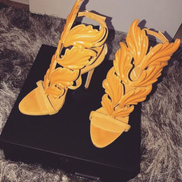Wholesale Gray Yellow High Heels - hot sale Women Shoes Brand Designer High Heels sandals Cut Outs Lace Up Open Toe Runway Party Shoes Women Gladiator Sandals