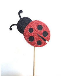 Wholesale Cheap Paper Decorations - cheap 30pcs Glittered Ladybug Cupcake Toppers kids birthday baby Bridal party Cake Topper, Engagement Party Supplies Decoration