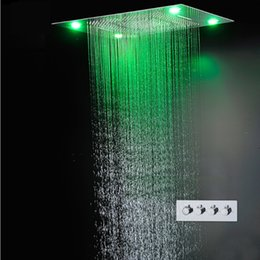 Wholesale Waterfall Faucet Led - 600*800MM Large Rain Shower Set Waterfall Remote Control LED Recessed Ceiling Mount Multi-function Shower Head Bath & Shower Faucets