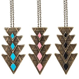 Wholesale Necklace Triangular - Fashion influx of people retro triangular alloy drops of oil exaggerated pendant female WFN449 (with chain) mix order 20 pieces a lot