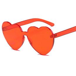 Wholesale Pink Heart Shaped Sunglasses - Brand Designe SunglasseWomen Heart Shaped Sunglasses WOMEN lens Fashion rimless sun glasses for men Mirror oculos de solUV400 L86