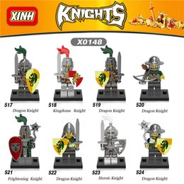 Wholesale Knight Toy - 8pcs lot Knights Building Blocks kingdom knight frieghtening Dragon kinight Super Heroes Minifigures Building Blocks Toys X0148