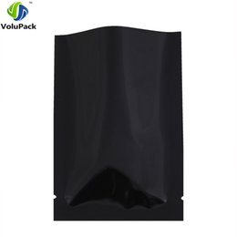 "Wholesale Black Glossy Bags - Small size! 4x6cm (1.5x2.25"") 3MIL Heat Sealing Package Pouch Metallic Mylar Glossy Black Small Open Top Pouches W  Tear Notch"