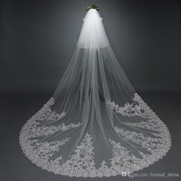 Wholesale Glamourous Lace - 2017 Glamourous Lace Applique Large Tain Wedding Bridal Veils Cover Face with Comb Ivory Tulle 300CM Bride Veil Real Photos High Quality