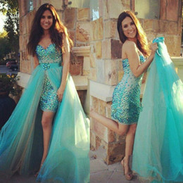 Wholesale Short Formal Dresses Turquoise - 2017 Short Prom Dress Turquoise New Sheath Detachable Train Beads Gorgeous Vestidos Custom Made Formal Party Gown Tulle Modern Colorful