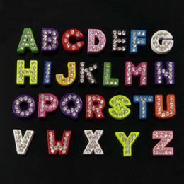 Wholesale Multi Color Letter Slide Charms - 260pcs lot Mixed color Zinc Alloy full Rhinestone Slide letters A-Z pet collar DIY slider letter