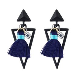 Wholesale Dangle Thread Earrings - Trendy Punk Style Big Geometric Triangle Shape Pendant Drop Earrings with Thread Tassels