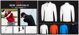 Wholesale Men Silk Shirts Long Sleeve - 2017 Ti golf T-shirt high quality dry fit Autumn long sleeve milk ice silk smooth touching golf shirts 6 color OEM available