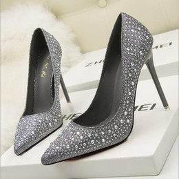 Wholesale B Sexy Photo - New 100% REAL PHOTO 10cm Bottom high heels pumps square toe genuine leather shoes women ladies Sexy chaussure femme Crystal